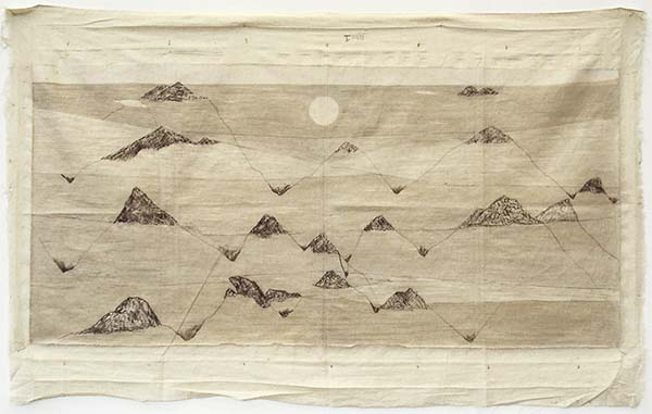 Moon Mirror Mountain Series, 2013 - tea & charcoal wash on cloth